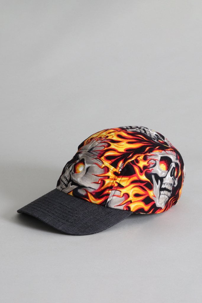 Skater Cap - Flaming Skull with Grey Pin Dot