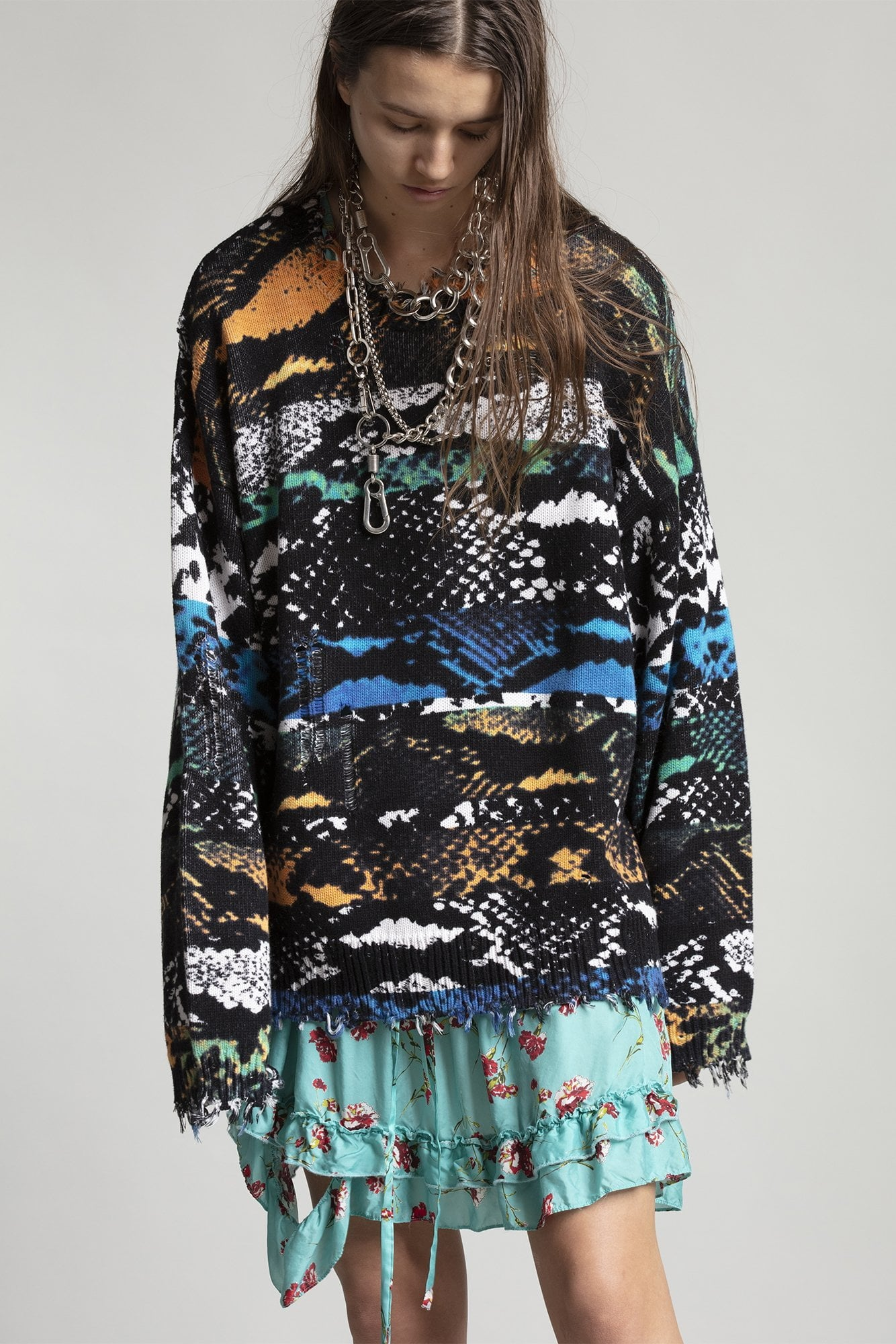 Snake Print Oversized Sweater