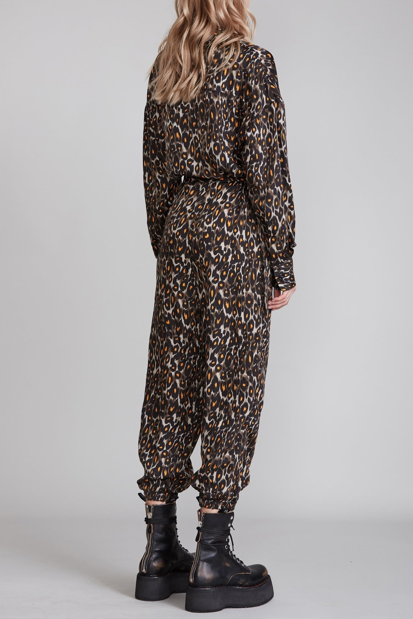 Utility Jumpsuit - Grey and Orange Leopard