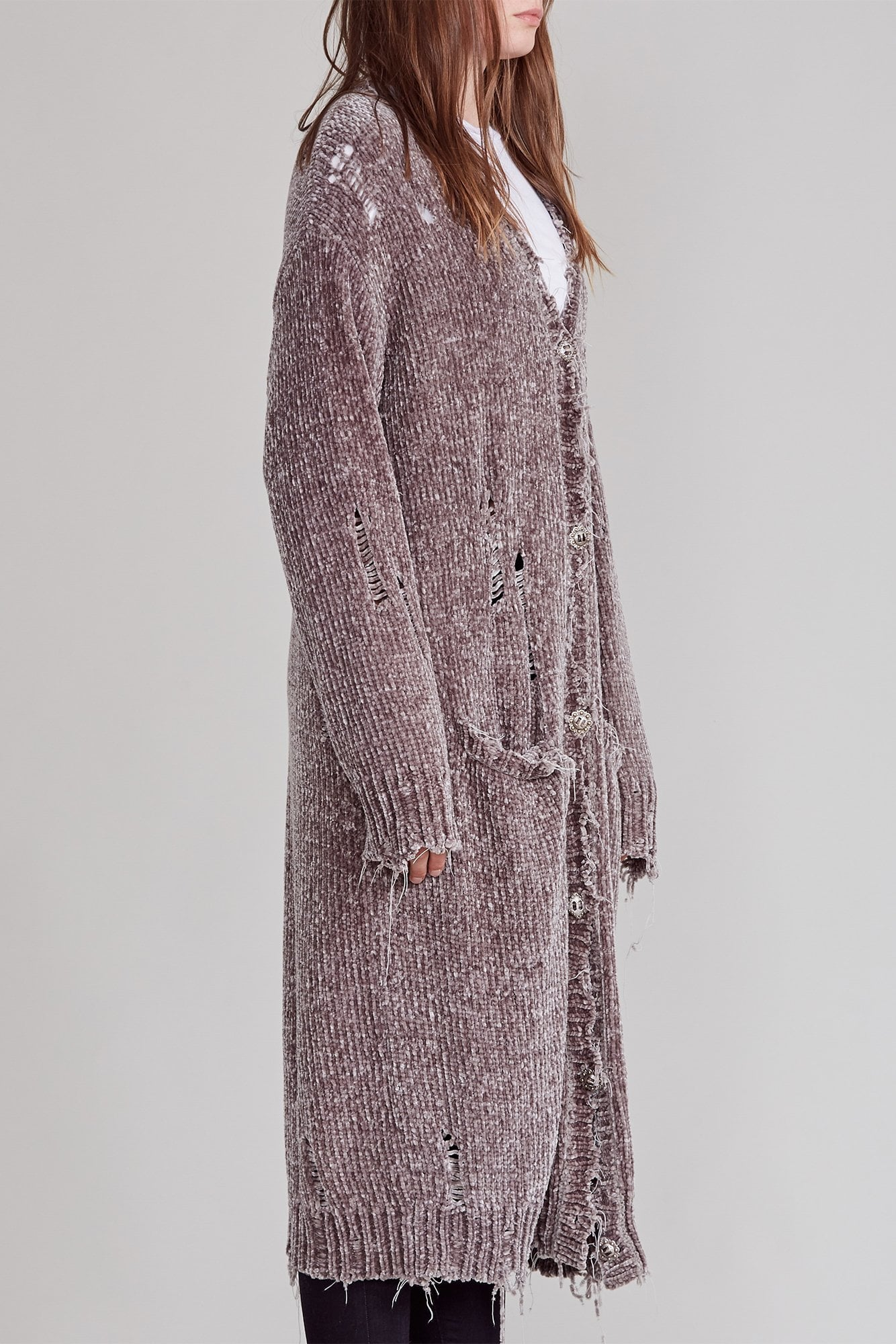 Long Chenille Cardigan - Grey