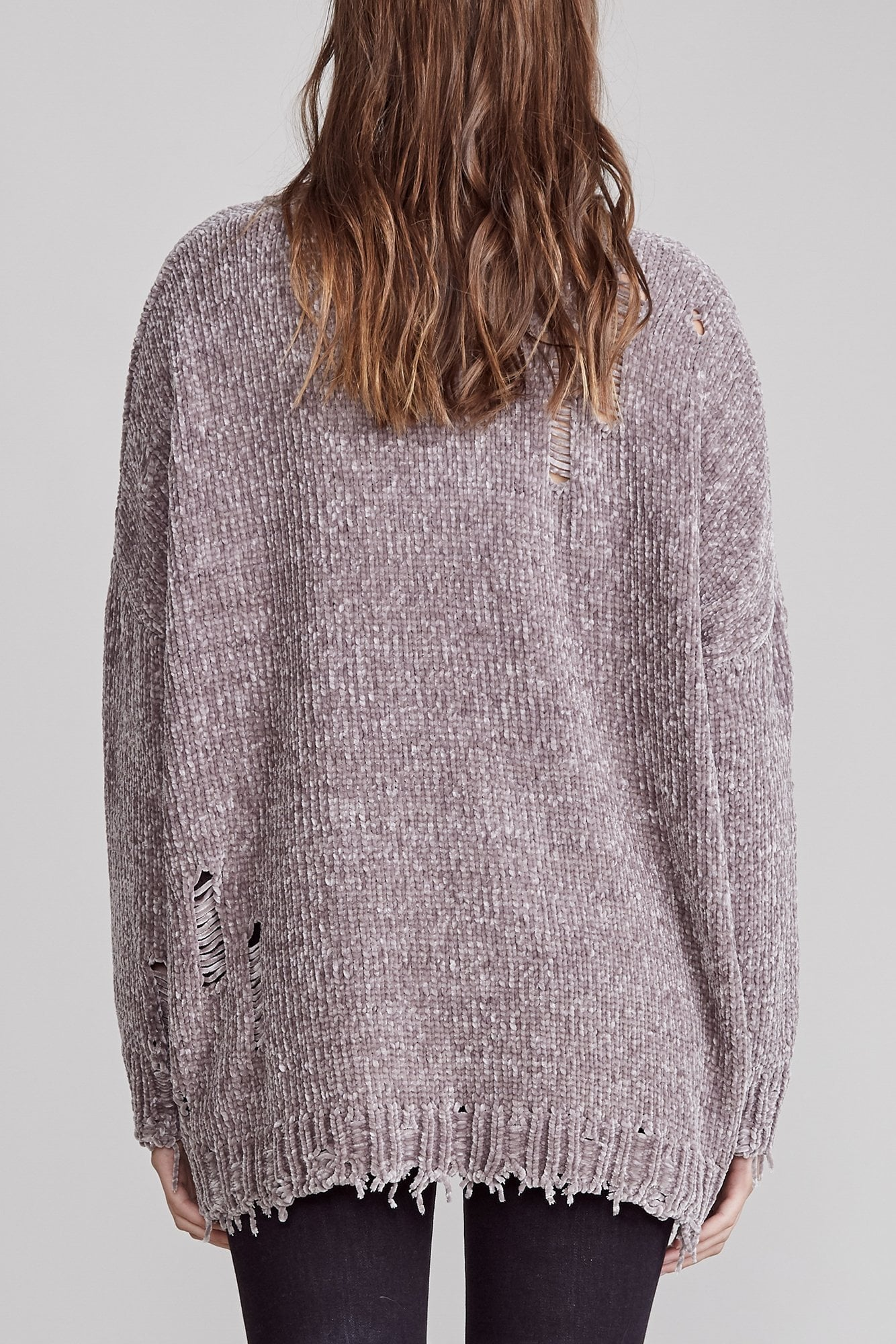 Distressed Chenille Crewneck - Grey