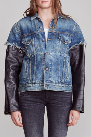 Sky Trucker with Leather Sleeves - Kelly