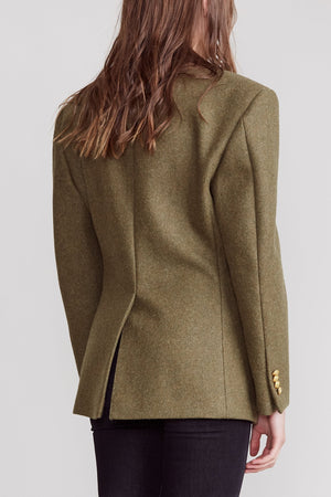 Strong Shoulder Notch Lapel Blazer - Olive