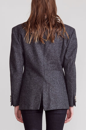 Strong Shoulder Notch Lapel Blazer - Heather Grey