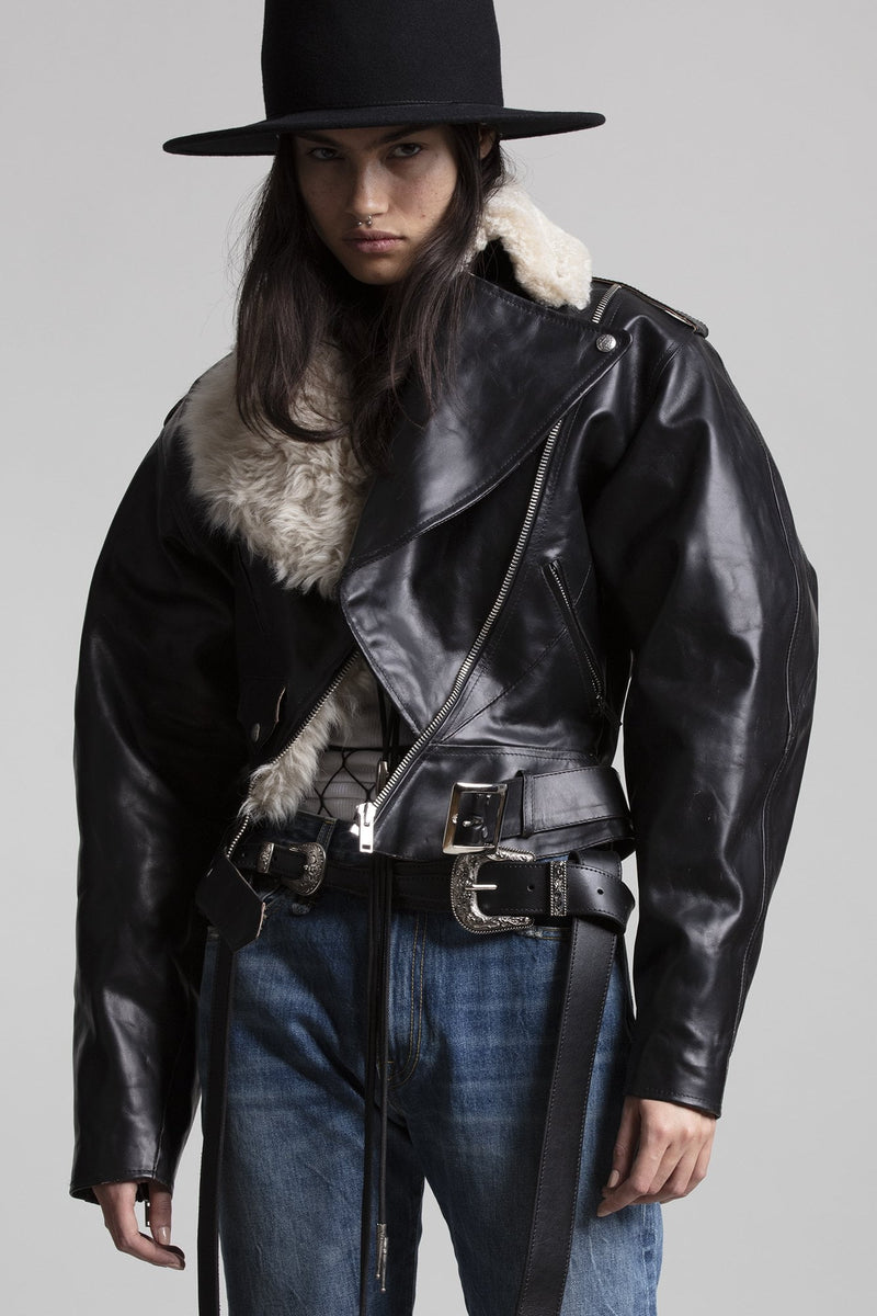 Siouxie Motorcycle Jacket with Fur Lining
