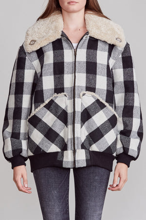 Exaggerated Collar Bomber - Ecru Buffalo