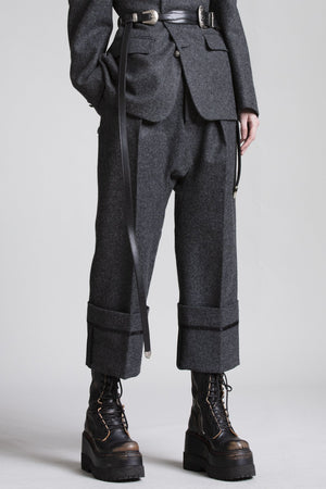 Drop Trouser with Wide Cuff - Heather Grey