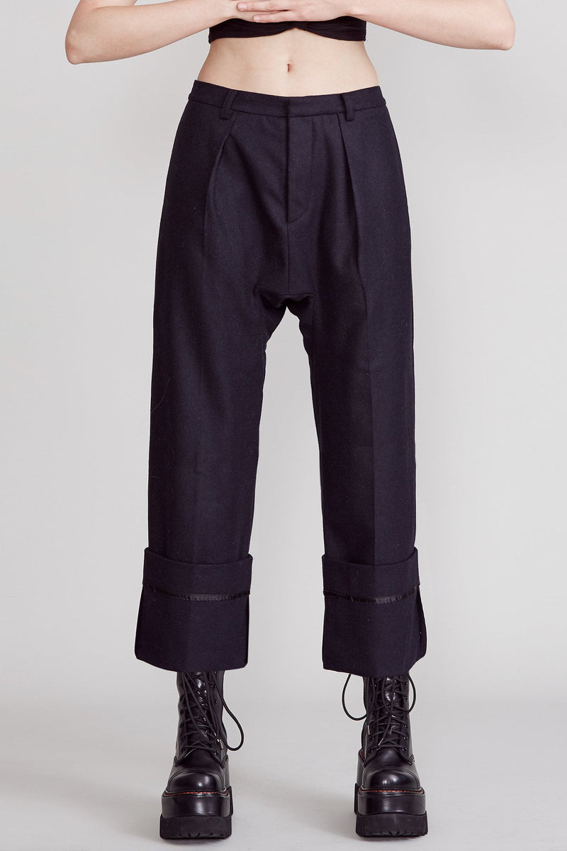 Drop Trouser with Wide Cuff - Blue and Black