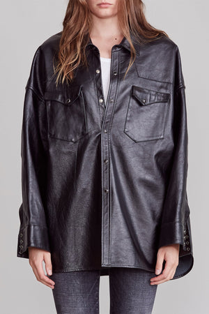 Leather Oversized Cowboy Shirt - Black