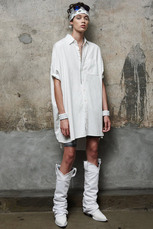 Oversized Boxy Button Up Dress - White
