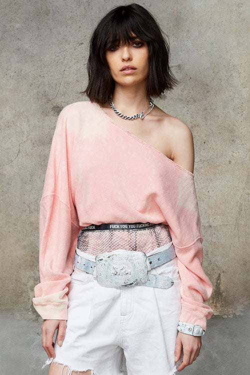 OFF SHOULDER PATTI SWEATSHIRT - BLEACHED PINK