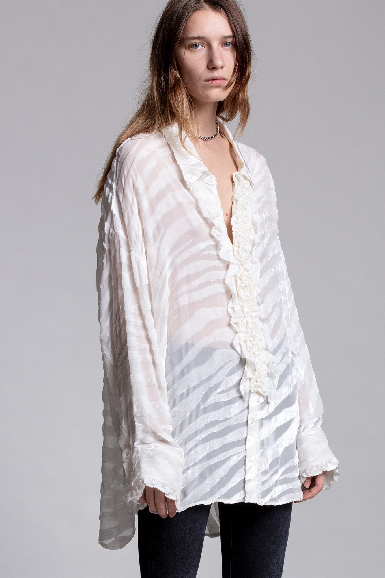 Drop Neck Tuxedo Shirt - White Zebra