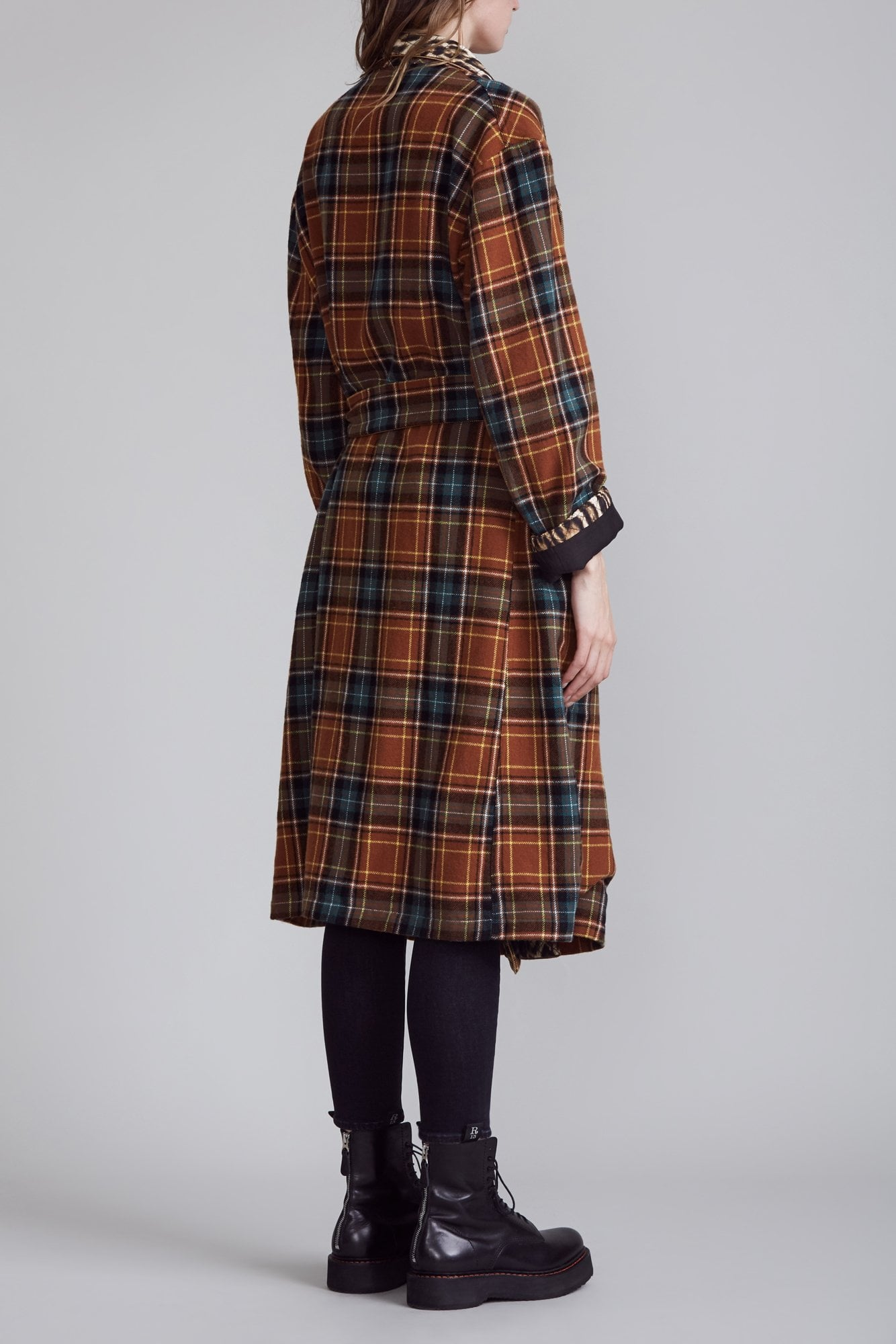 Winter Robe - Brown Plaid with Leopard