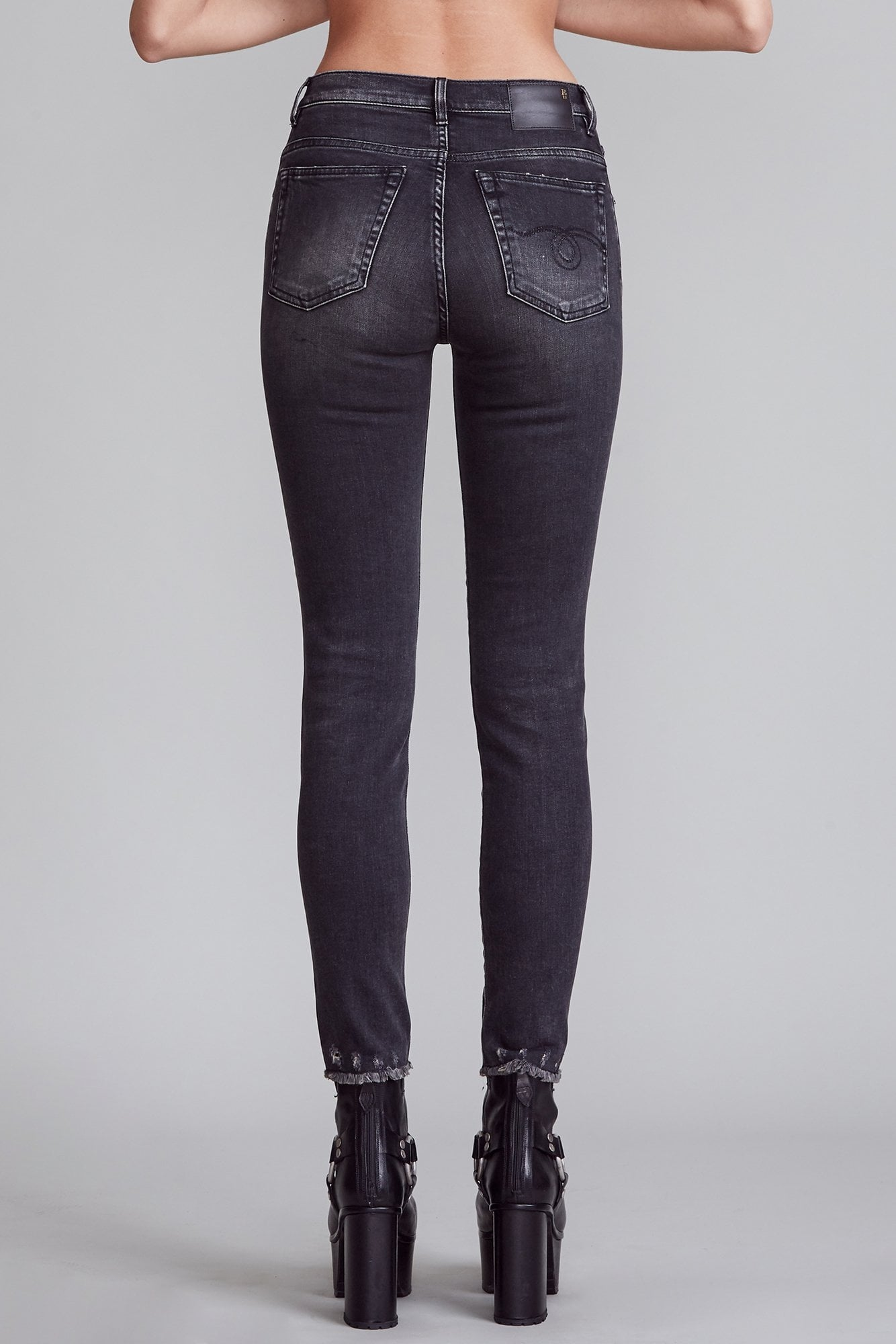 High Rise Embroidered Skinny - Trouble