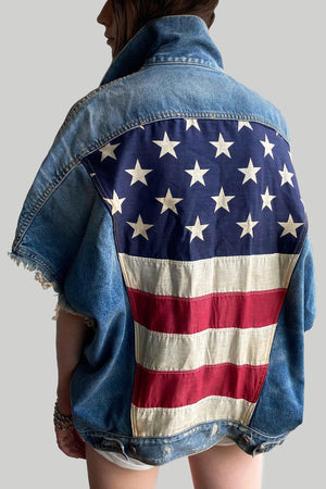 Refurbished Denim Vest w/ Vintage American Flag