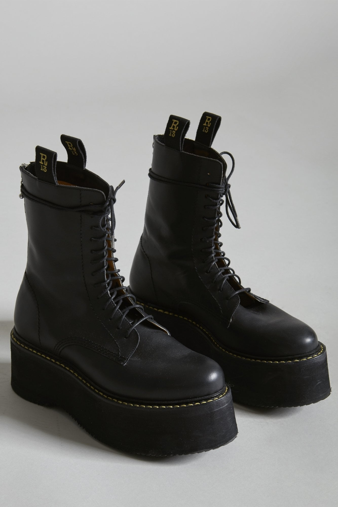 Limited Double Stack Boot - Yellow Stitch