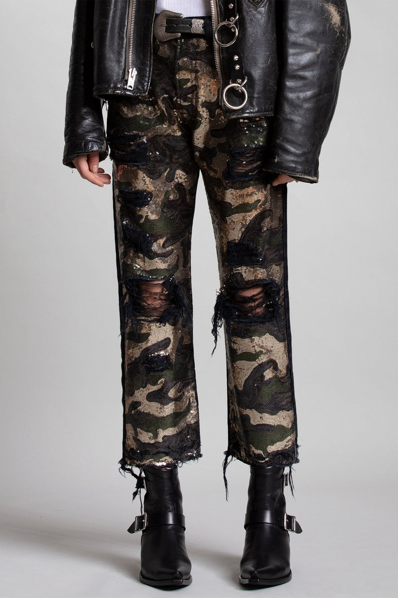 Slim Boyfriend - Camo Sequin + Black Denim