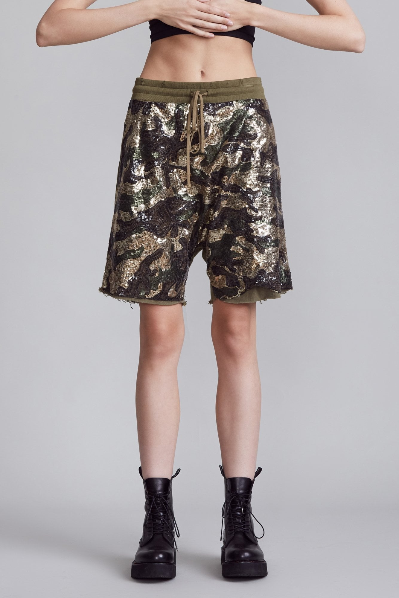 Sequin Camo Harem Shorts