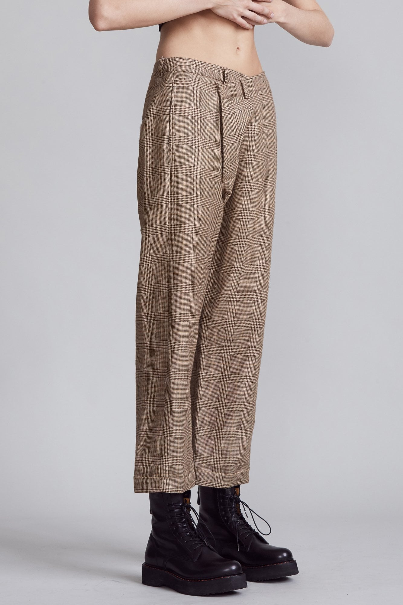 Crossover Trouser- Brown Glenplaid