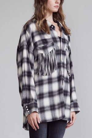 Western Fringe Shirt - Grey Plaid