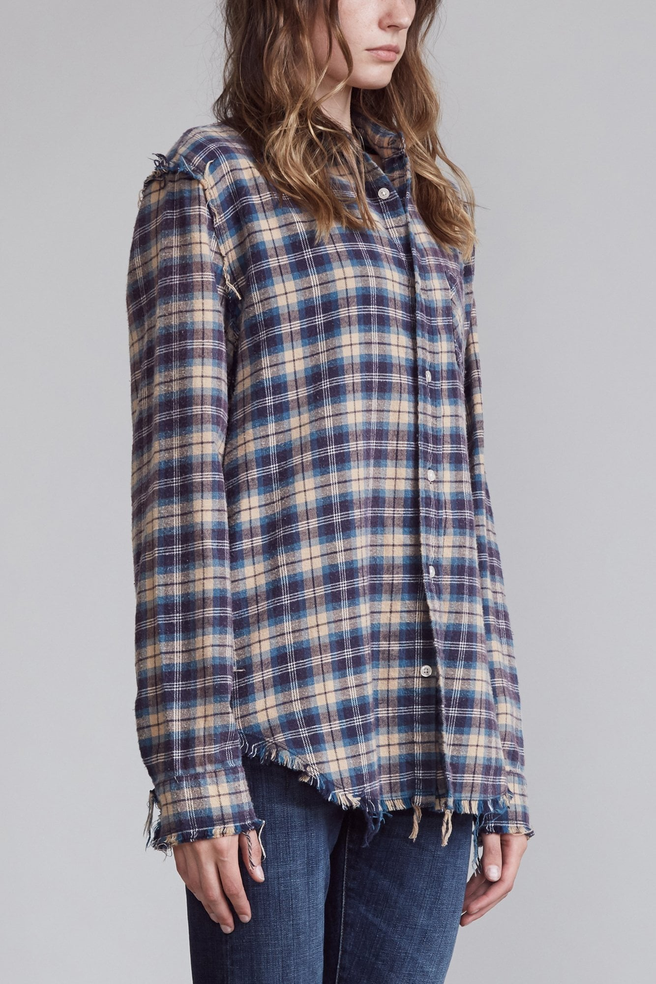 Shredded Seam Shirt - Blue and Khaki Plaid