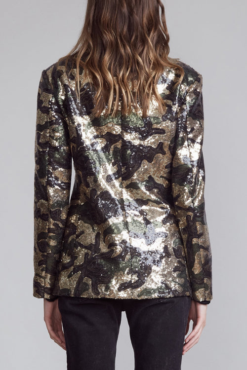 Shawl Lapel Blazer - Camo Sequin