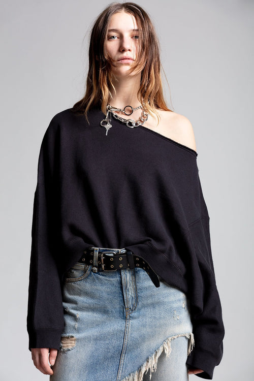OFF SHOULDER PATTI SWEATSHIRT - WASHED BLACK