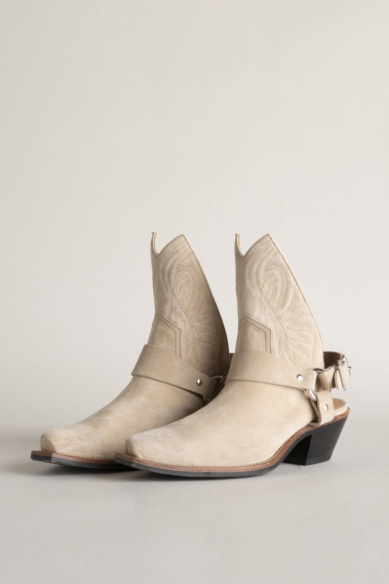 Half Cowboy Boots with Harness - Tan Suede