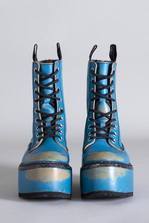 Double Stack with Leather Platform - Blue