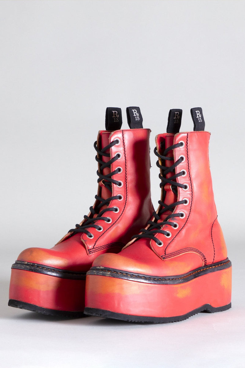 Double Stack with Leather Platform - Red