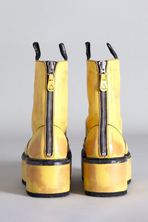 Double Stack with Leather Platform - Yellow