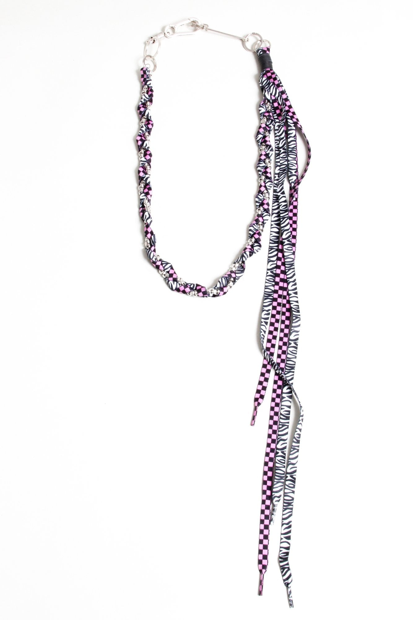 Rope Pocket Chain - Zebra with Pink Checker