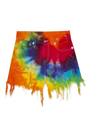 Shredded Slouch Short - Tie Dye