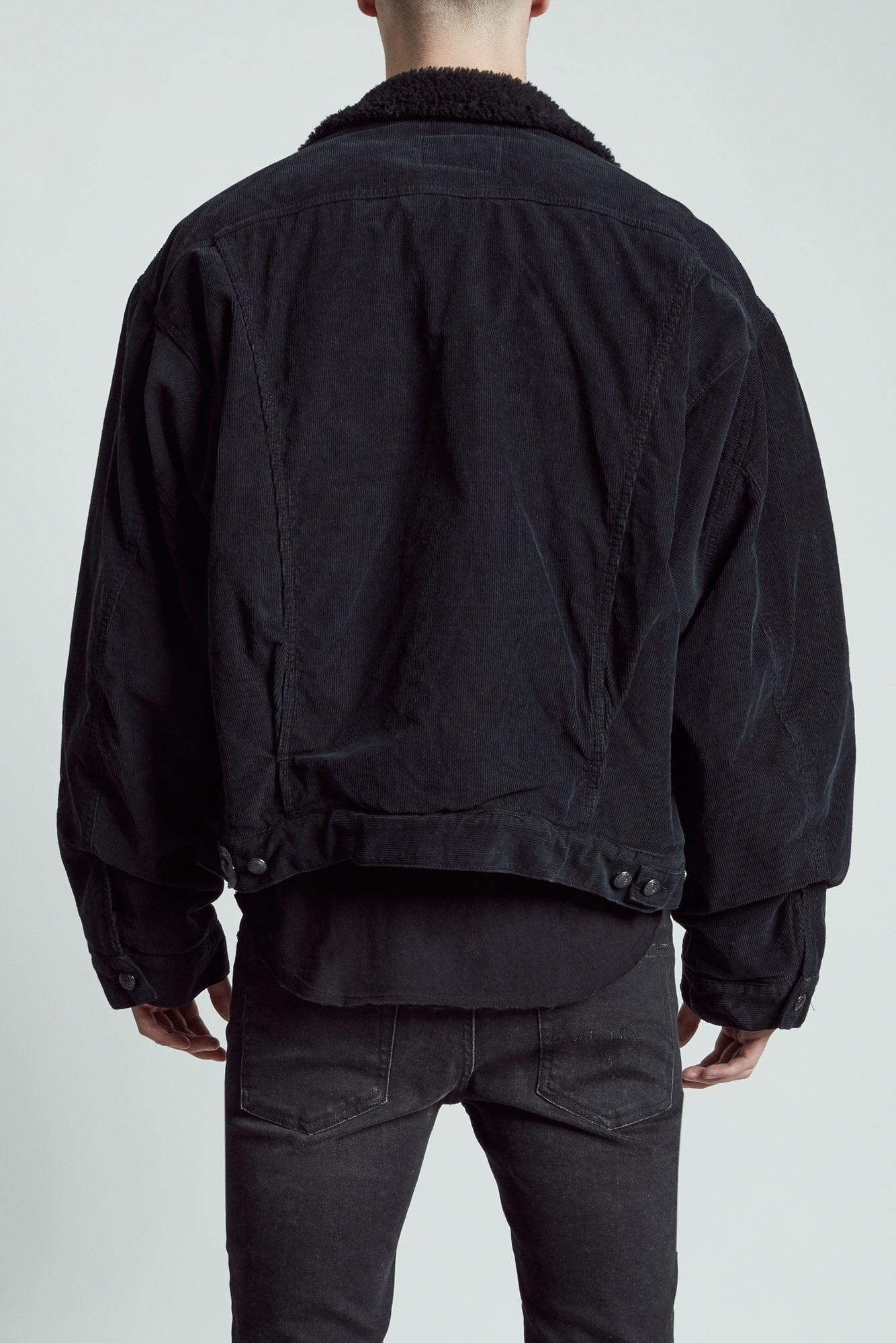 Reed Oversized Trucker- Black Corduroy