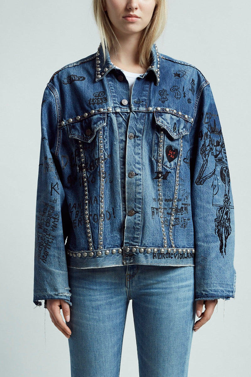 Refurbished Trucker Jacket with Graffiti Embroidery and Studs