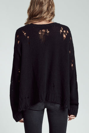 Shredded Side Slit Sweater - Black