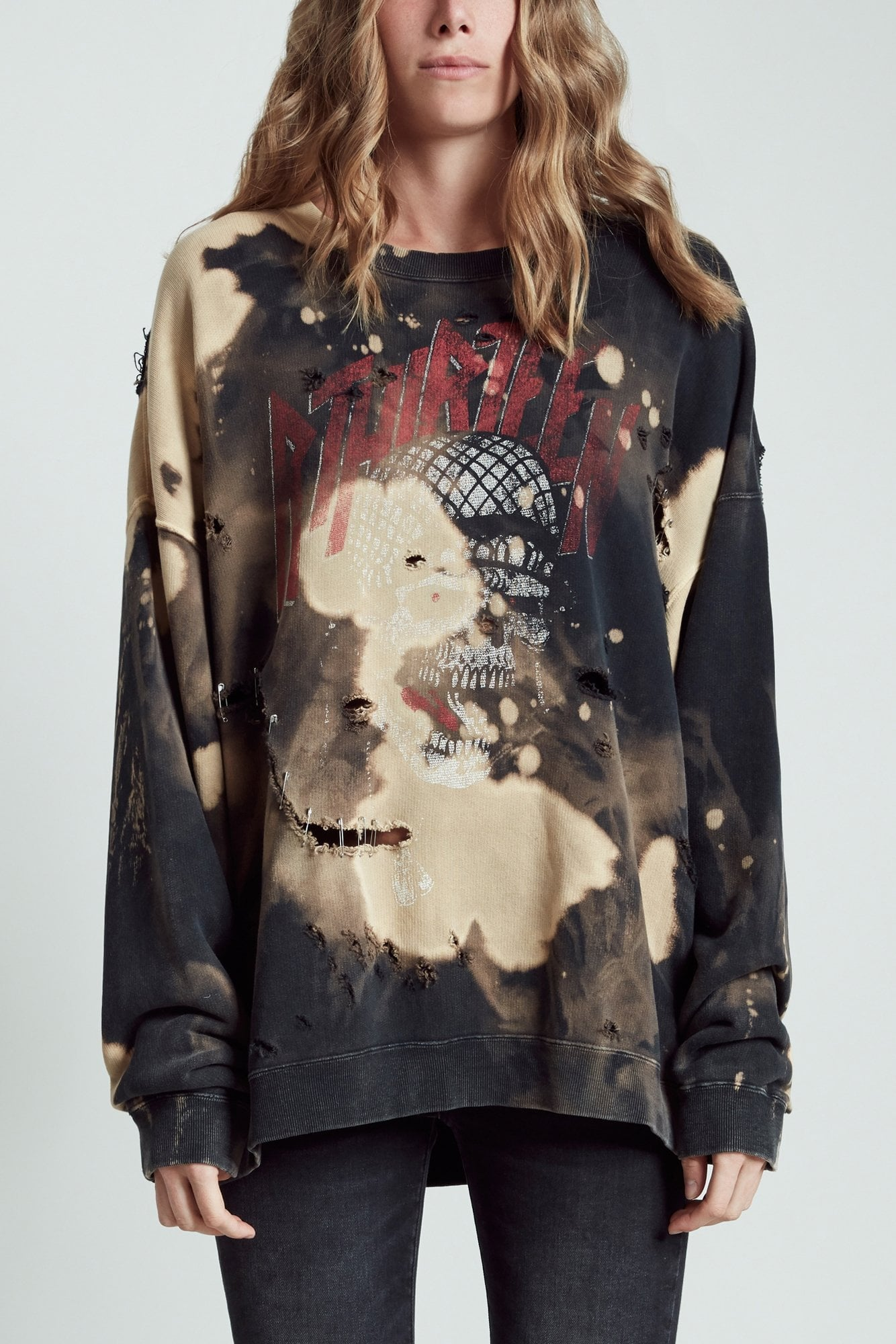 Battle Punk Oversized Crewneck- Bleached Black