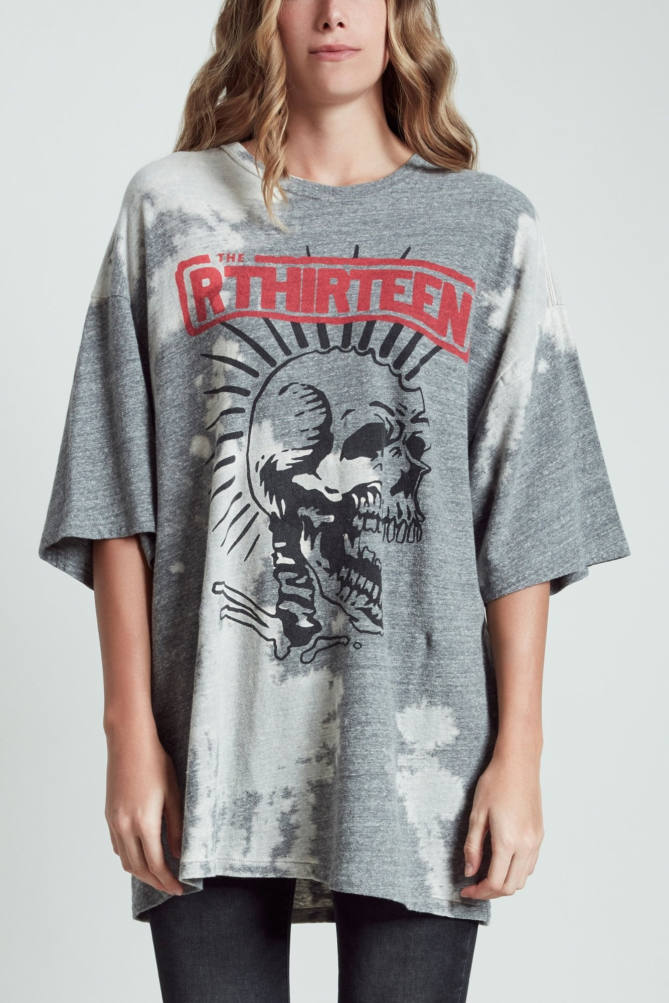 Exploited Punk Oversized T- Bleached Grey