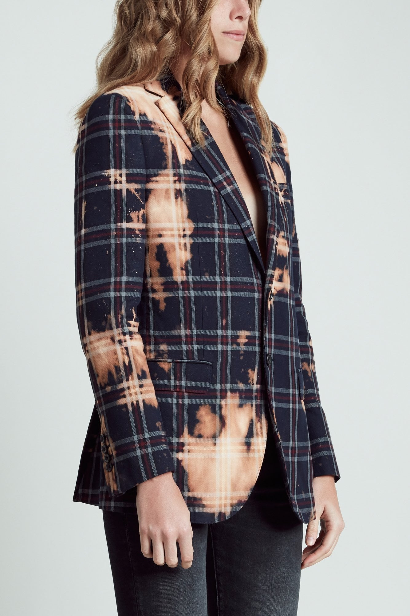 Boyfriend Blazer- Blue Plaid with Bleach