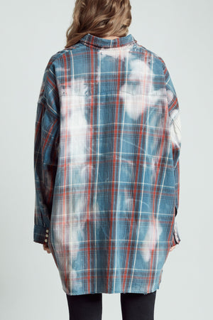 Oversized Cowboy Shirt- Blue Plaid with Bleach