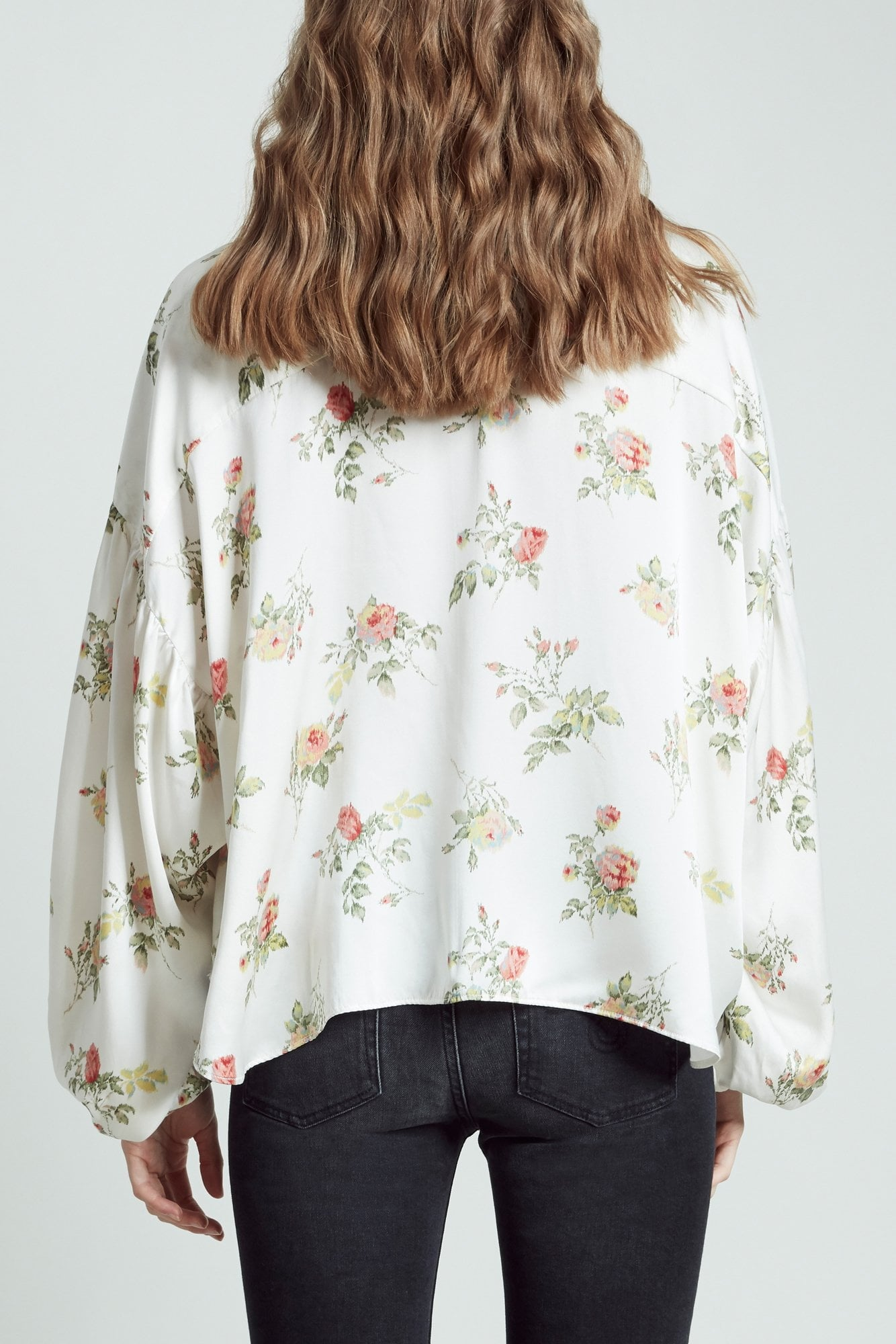 Neck Tie Blouse- Ivory Floral