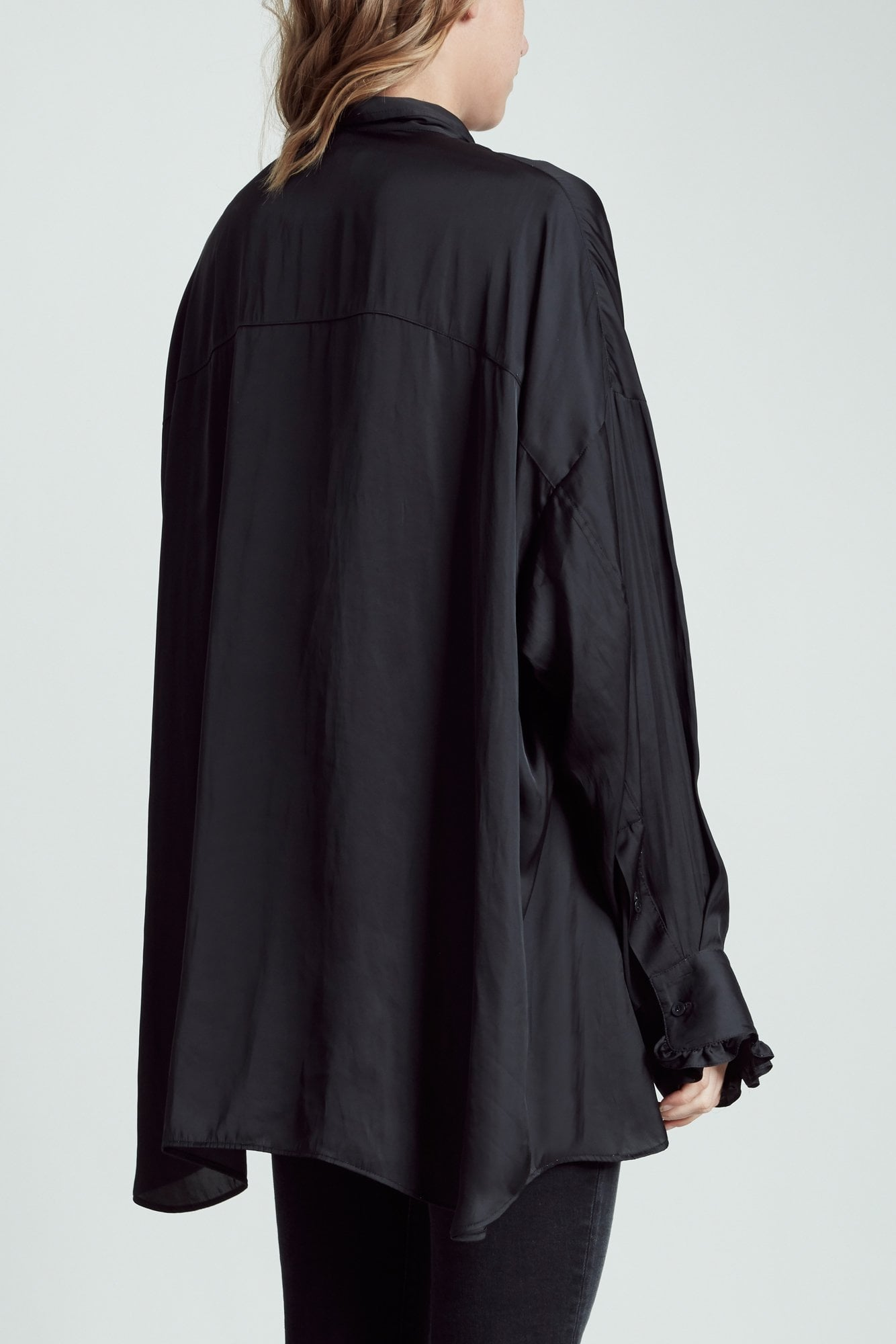 Drop Neck Tuxedo Shirt- Black