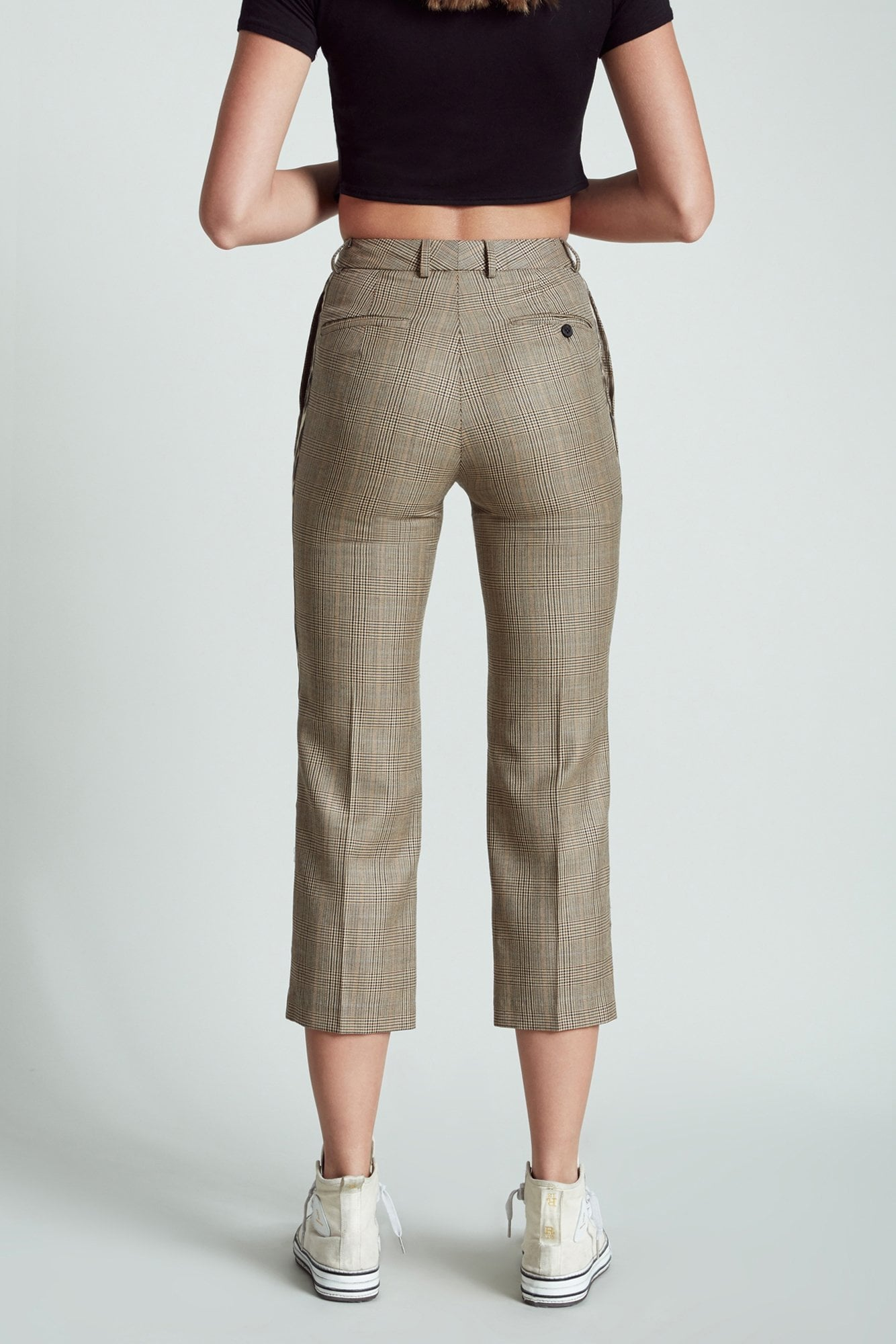 Tuxedo Trouser- Brown Plaid with Leopard