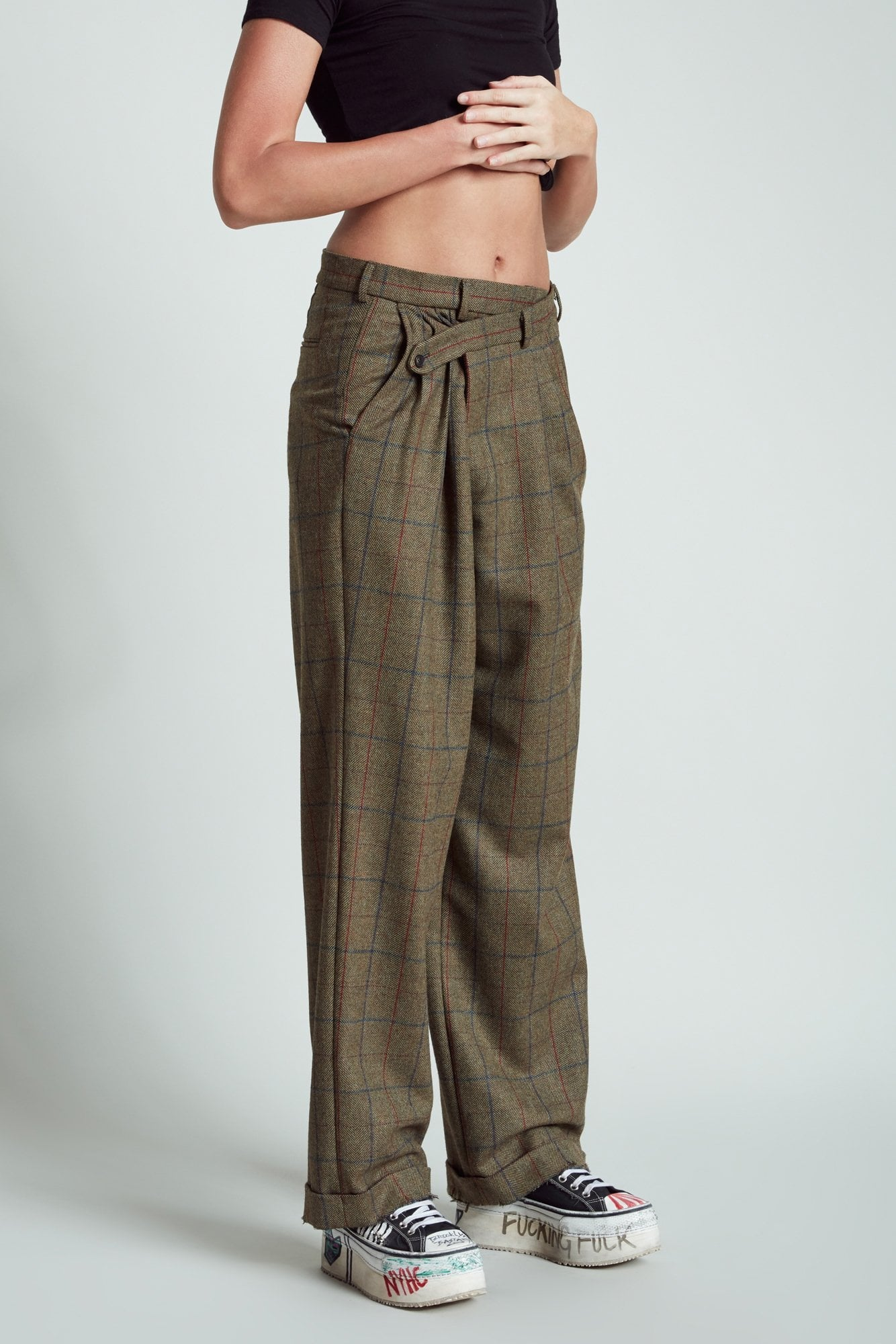 Triple Pleat Crossover Trouser - Green Multi