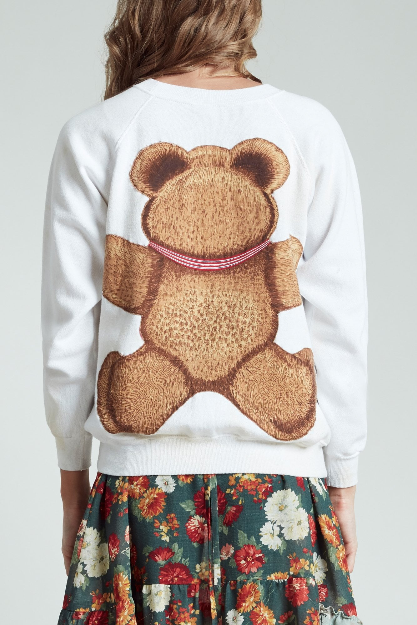 Punk Teddy Bear Crewneck - Dirty White