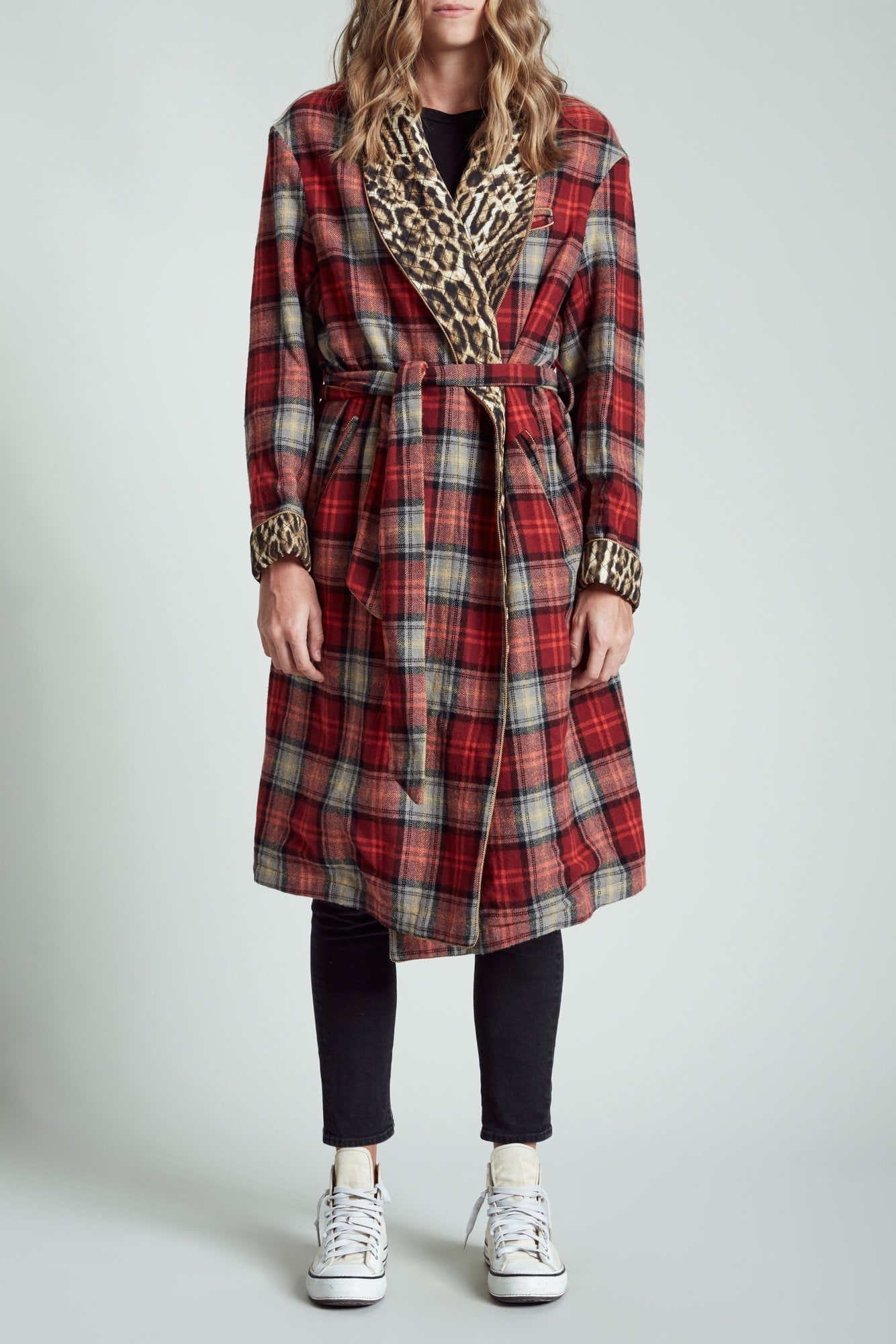Winter Robe Jacket - Red and Grey Plaid with Leopard