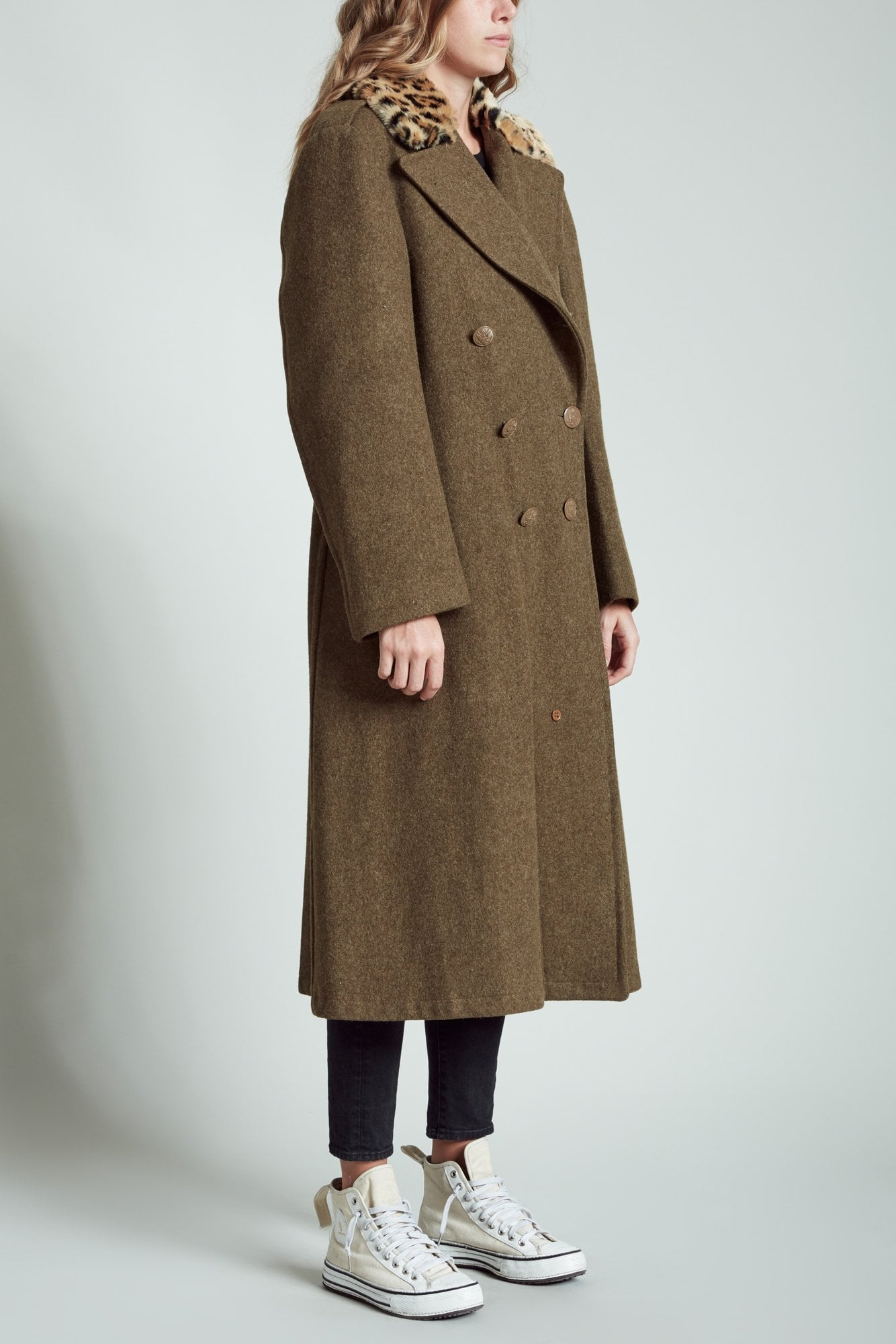 Refurbished Army Coat with Leopard Collar