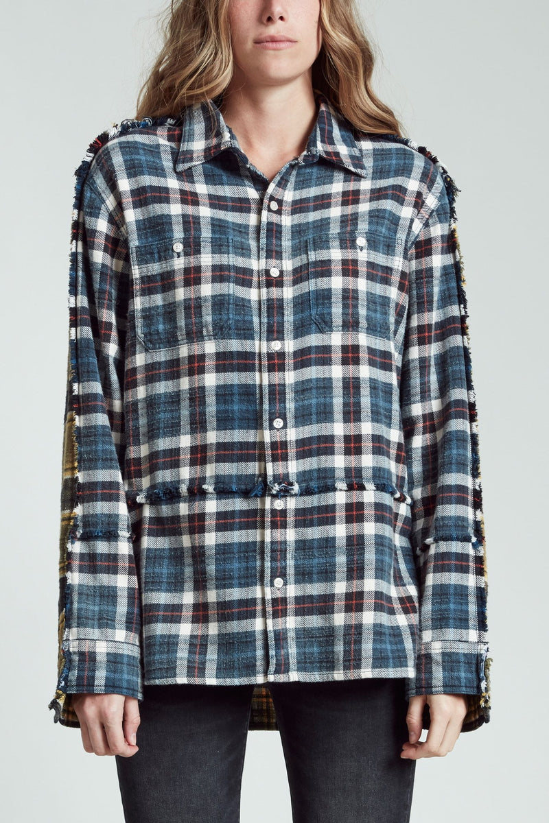 Mended Shirt - Blue and Green Plaid