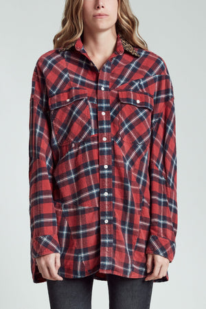 Patched Shirt - Red Plaid with Leopard
