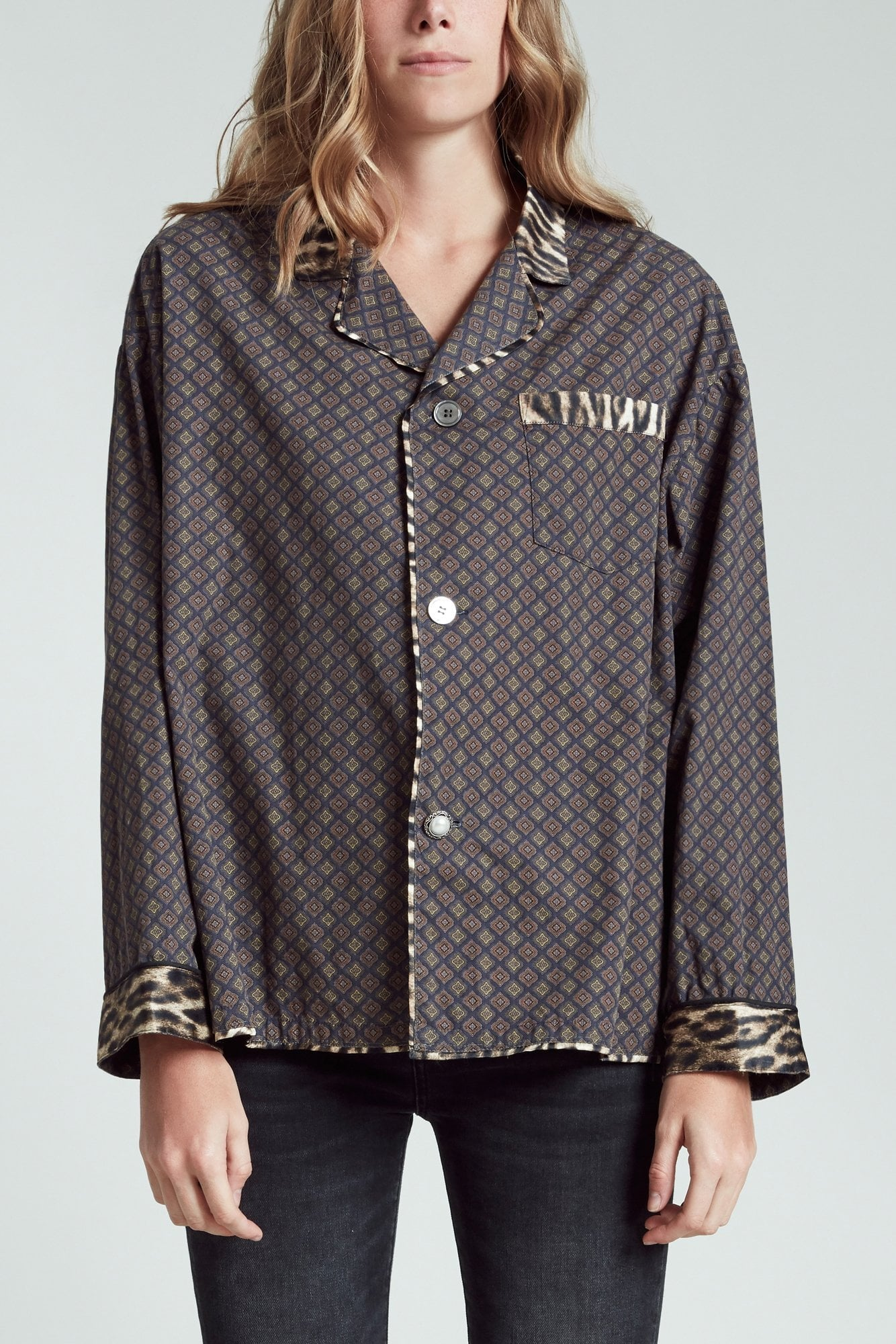 Pajama Top - Navy Pattern with Leopard